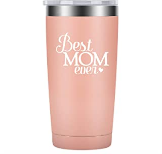Best Mom Ever - Mothers Day Gifts for Moms Grandmas from Daughters Sons - Funny Birthday, New Baby Presents Ideas for Women, New Moms - LEADO Stainless Steel Insulated Wine Tumbler Novelty Cup