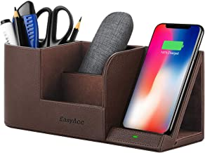 EasyAcc Wireless Charger Desk Organizer Wireless Charging Station for iPhone X XS MAX XR 8 Plus and Samsung S7 Edge S8 S9 Plus Note 8 9and More, Desk Storage Caddy Pen Pad Holder