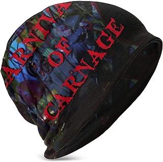 Hdadwy Beanie Hat Carnival of Carnage Gorro de Punto con puños y Calavera Fina para niños y niñas, Color Negro