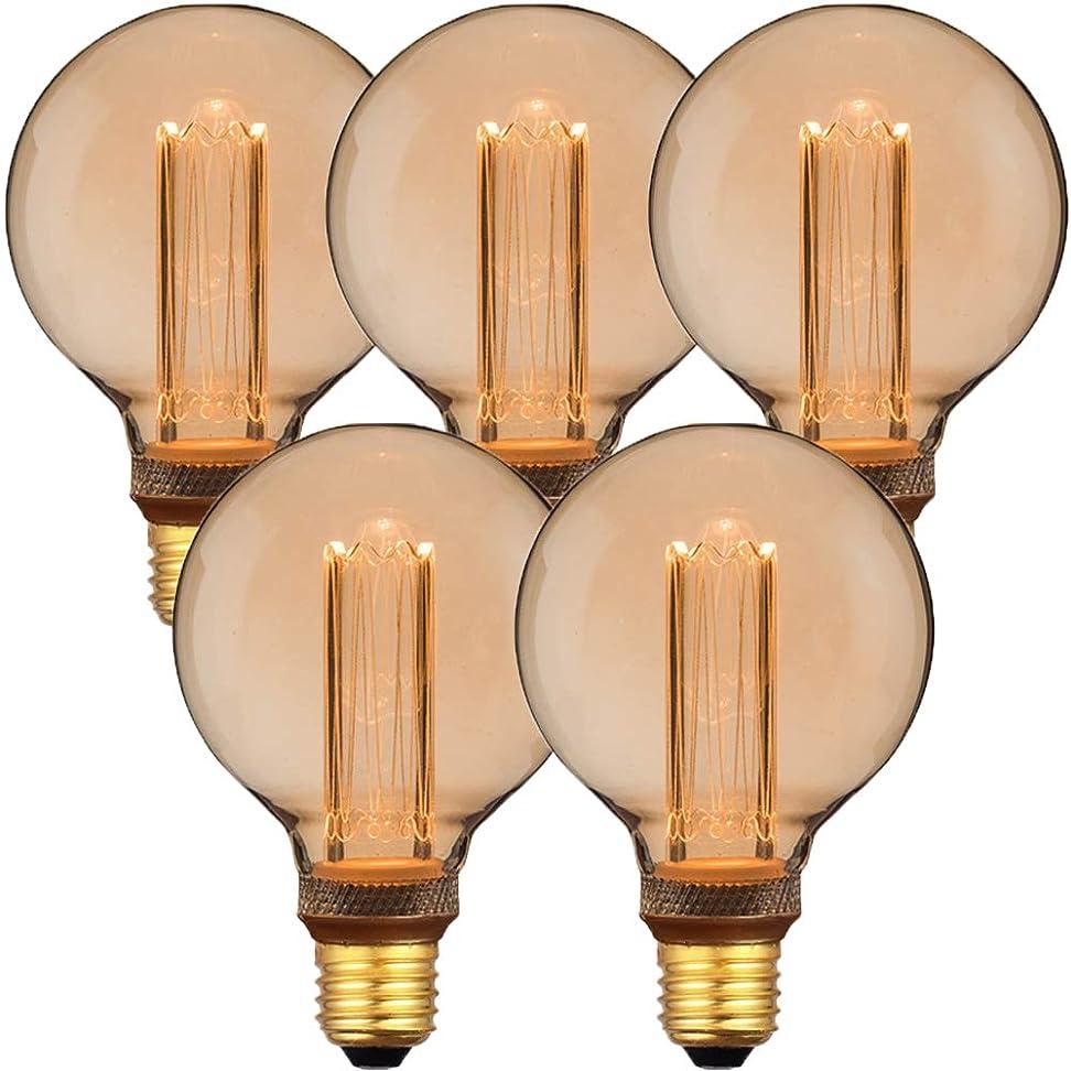 象トリッキー定刻【5個セット】E26 エジソンバルブ LED電球 ノスタルジア (GLOBEタイプ)×5個セット 電球色 裸電球 エジソン電球 レトロ 照明