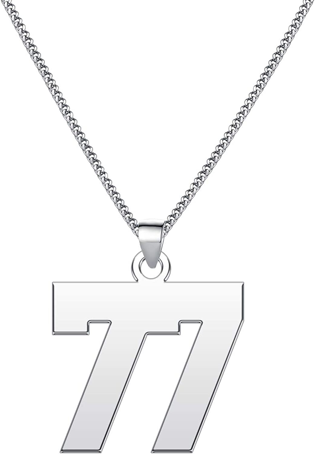 LuxglitterLin Lucky Number Necklace Personalized Stainless Steel Sports Fan Gift for Women 2mm Wide Cuban Chain 0.8inch