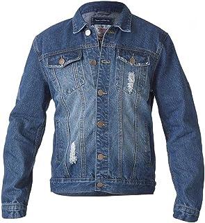 D555 Duke Mens Denim Jacket, Western Style Sandblasting, Rips, Blue Stonewash (S-XXL)