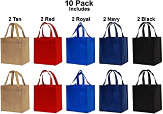 10 Piece Pack of Large Earthwise Reusable Shopping Grocery Tote Bags Eco Friendly