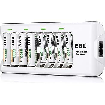 EBL Chargeur de Piles AA et AAA 8 Slots, avec 4pcs Piles Rechargeables AA 2800mAh et 4pcs AAA 1100mAh Ni-MH, Chargeur de Piles 8 Slots