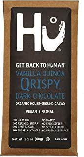 Hu Vegan Chocolate Bars   4 Pack Vanilla Quinoa Qrispy Chocolate   Gluten Free, Paleo, Non GMO, Kosher Dark Chocolate   2.1oz Each