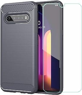 YZKJ Fodral till LG V60 ThinQ 5G, mjuk silikon kolfiber mobiltelefonfodral TPU väska skyddsfodral pansarglas skärmskydd fö...