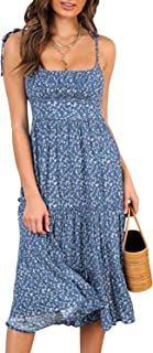 Miessial Women's Spaghetti Strap Long Floral Dress Summer Ruffle Flowy Beach Dress
