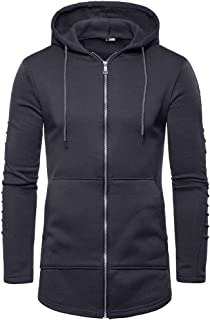 YOCheerful Outdoor Sweatshirt Men Zipper Splicing Casual Coat Long Sleeve Sport Jacket Pullover Tops