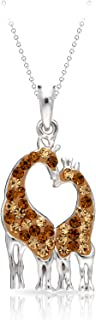 BLING BIJOUX Crystal Giraffe Couple Pendant Necklace Never Rust 925 Sterling Silver Hypoallergenic Chain with Free Breatht...