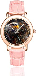 InterestPrint Cool Fox Bald Eagle Women's Rose Gold-plated Watch Pink Leather Strap Wrist Watches