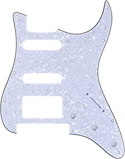 Musiclily Pro 11-Hole Modern Style Strat HSS Guitar Pickguard for American/Mexican Fender Stratocaster Floyd Rose Bridge Cut, 4Ply White Pearl