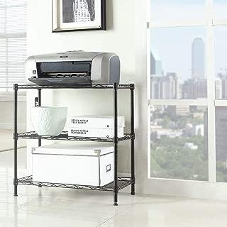 Basic-Center 3-Tier Kitchen Storage Cart Microwave Oven Rack Utility Workstation Stand Shelf Black Storage Organizer Display Holder Nice Furniture