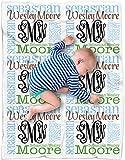 CarefreeTees Personalized Baby Name Blanket Monogrammed (Vine Monogram - Earthy 30' x 40')