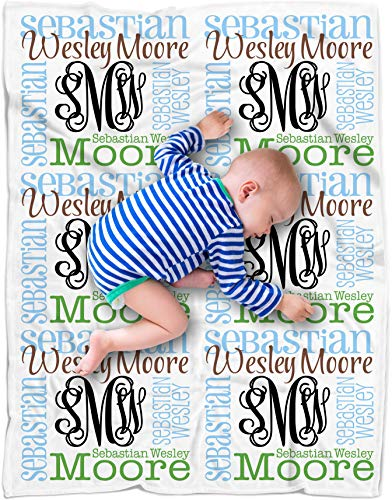 Personalized Baby Name Blanket Monogrammed Baby Shower Gift (Vine Monogram -...