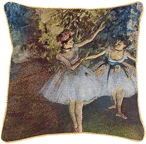 Kunstkussensloop van Signare/gemaakt van decoratief behang/dubbelzijdig 45x45cm / Edgar Degas - twee dansers op het podium (CCOV-ART-ED-BLR-2)