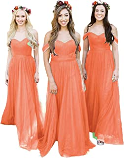 Women's Off The Shoulder Tulle Long Bridesmaid Dresses 2018 Wedding Party Dress
