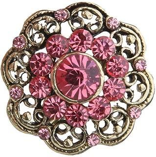 Vintage Brooch Crystal Lapel Pins Wedding Bridal Rhinestone Flower Brooch Pin | Color - Pink