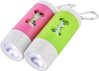 Guardians LED Flashlight Dog Waste Bag Dispenser Holder with Pet Waste Bag Poop Roll Bags (2 Packs)
