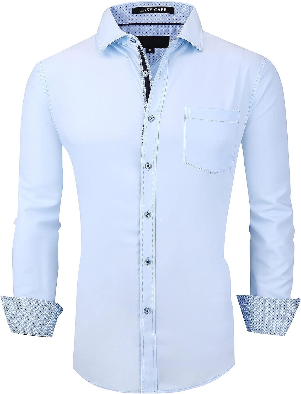 Monlando Mens Dress Shirts Long Sleeve,Easy Care Bamboo Dress Shirts for Men Regular Fit