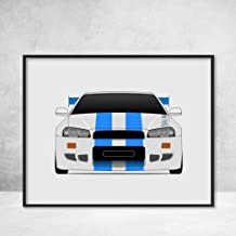 Nissan Skyline R34 GT-R from the Fast and the Furious Brian O'Connor (Paul Walker) Fast and Furious Art Poster Print Wall Art Decor Handmade Godzilla Nismo V-Spec