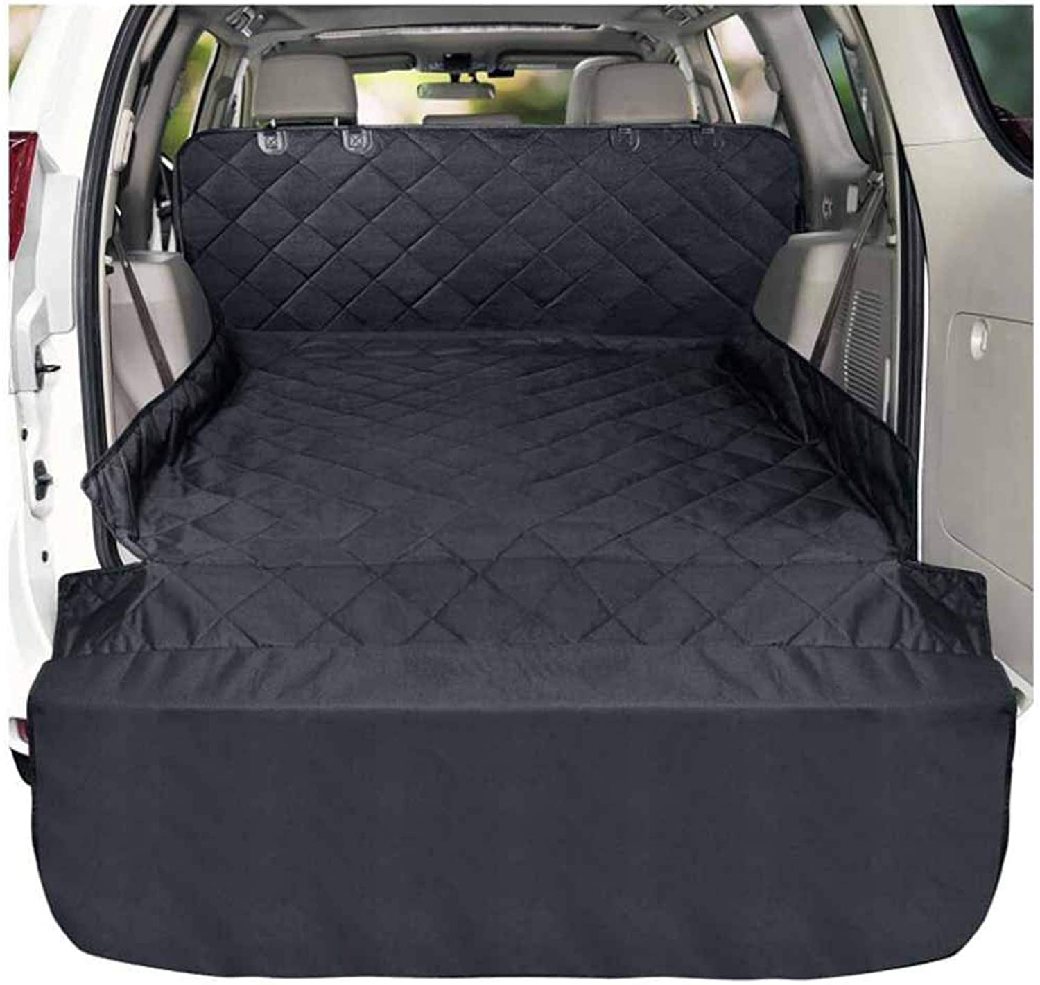 QRFDIAN Pet car trunk mat   waterproof car mat dog travel cushion   dog car seat cover   waterproof dog hammock rear seat predection pad   for cars SUV truck outdoor travel Dog Cargo Cover Black Dog C
