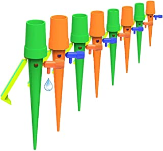 Gnker Plant Watering Devices, 12 Pack Plant Self Watering Spikes with Anti-tilt Bracket & Valve Control Switch, Slow Relea...