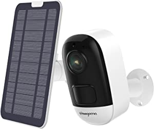 Wireless Security Camera Outdoor with Solar Panel Powered, Rechargeable Battery WiFi Camera Night Vision, 2-Way Audio, Home Surveillance Camera, IP66 Waterproof, PIR Motion Detection Micro SD Storage
