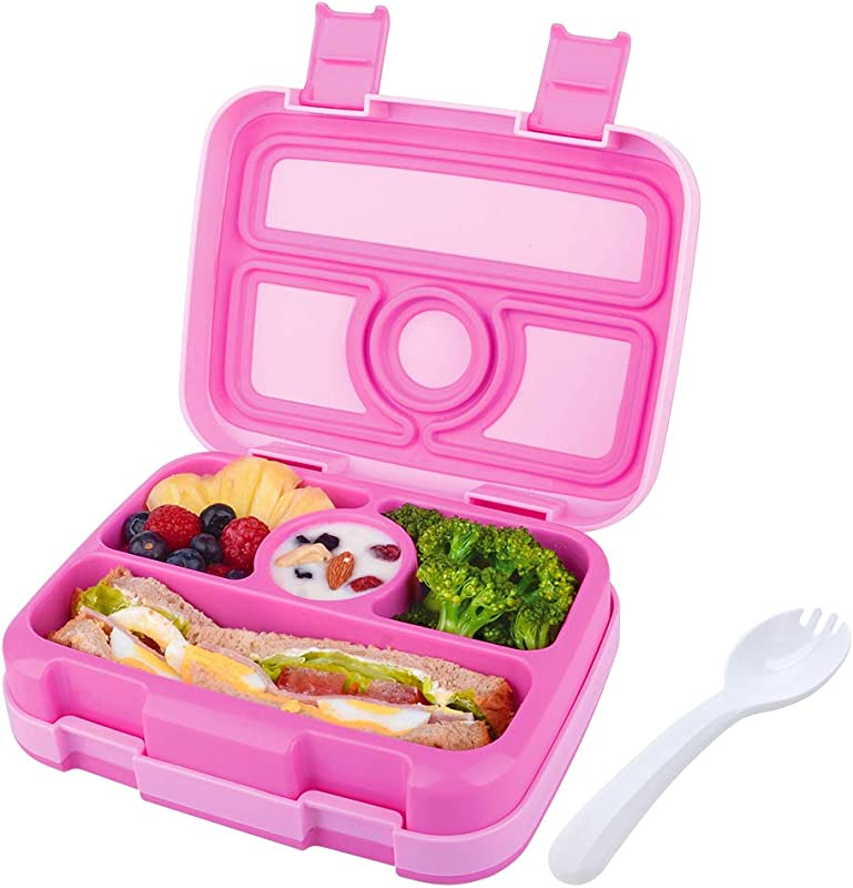 Kids Lunch Box Bento Box For Kids Nomeca BPA Free Leak Proof 4 Compartment Lunch Container With Spork Microwave Safe Portion Control Meal Fruit Snack Packing For Girls Toddler School Travel Hot Pink