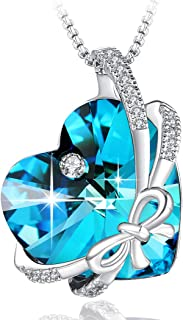 ❤Gift Packaging❤ Purple/Ocean Blue Bowknot Bow Tie Pendant Necklace Made with Swarovski Heart Shape Crystal, Butterfly Heart Pendant for Women