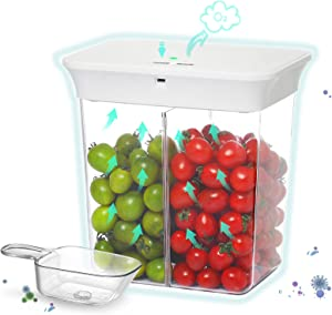 Acko Vacuum Food Storage Containers: Smart Airtight Lids Cereal Canister Kitchen & Pantry Organization Seal Box BPA Free for Vegetable Fruit Rice Nuts Sugar Coffee Beans Meat Clear with Spoon