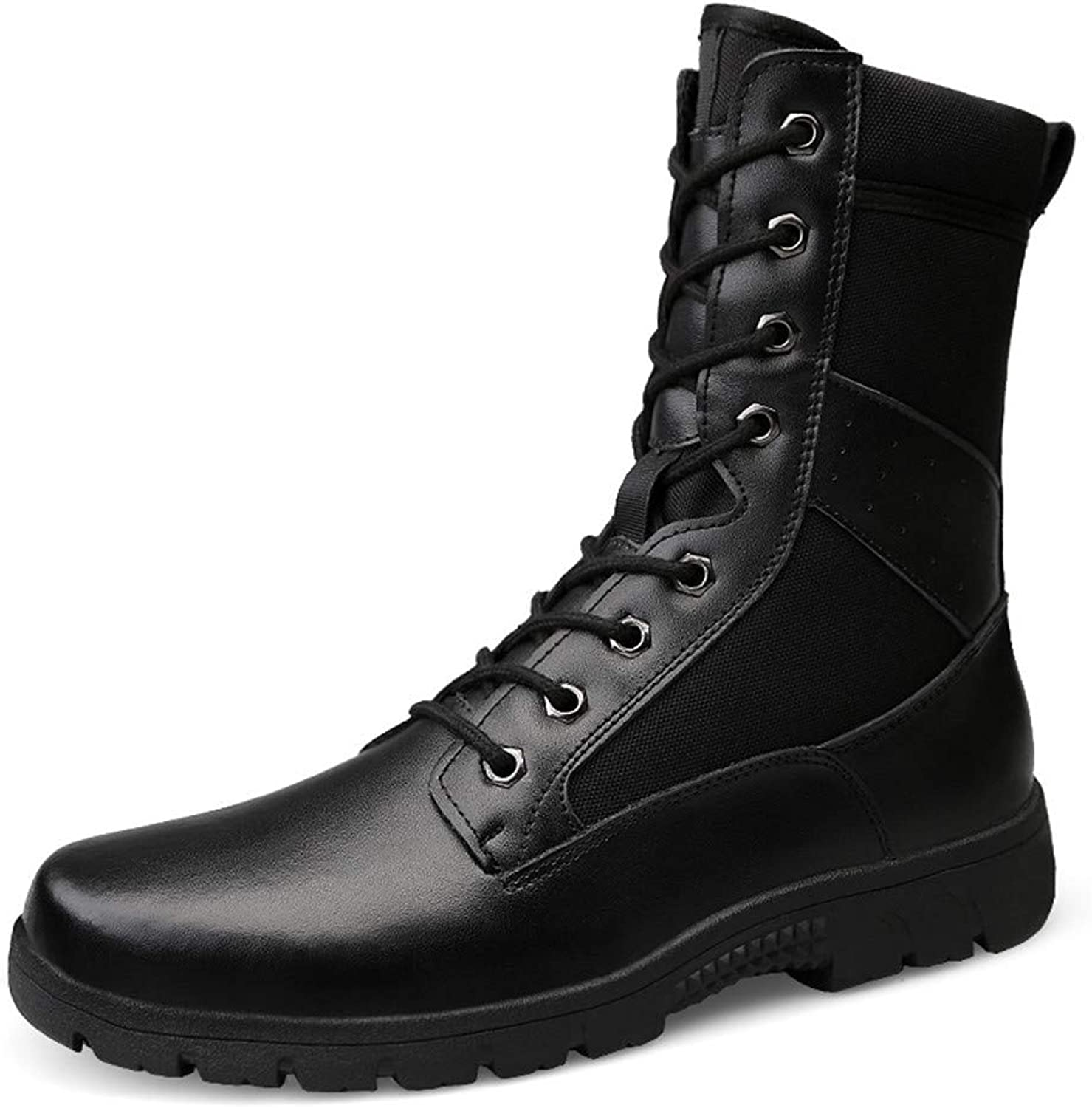 XHD- Classic shoes Men's Personality Mid-Calf Boots Casual Personality Hot Style Genuine Leather Imitation Army Boots(Warm Velvet Optional)