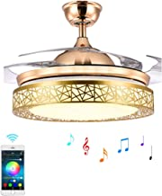 Ceiling Fan Light with Bluetooth Speaker and Remote Control, Modern 7-Color Dimming Chandelier Mute Ceiling Fans with Lights (36 inch)