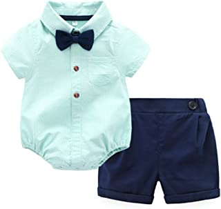 Baby Boys Casual Suit Cotton Short Sleeve Striped Button Down Bowtie Shirt Short Pant Clothes Set Outfit