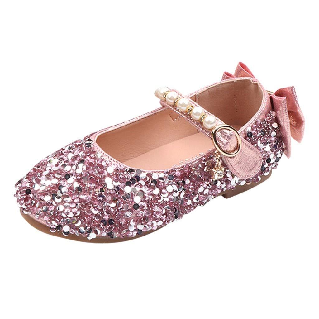 Lucoo baby shoes Zapatos Mary Jane con Purpurina y Perlas para niñas, diseño de Princesa con Flores y Zapatos de tacón para Fiesta de Boda para niños: Amazon.es: Deportes y aire libre