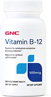 GNC Vitamin B-12 500mcg, 100 Tablets, Supports Energy Production