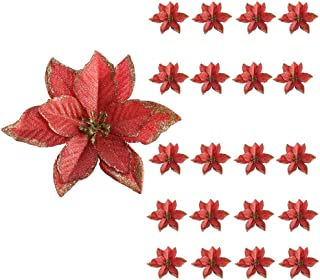 HUAESIN 20pcs Artificial Silk Poinsettia Flowers Christmas Tree Ornaments Glitter Poinsettia Centerpieces Fabric for Xmas Christmas Wreaths Garland Decorations Red