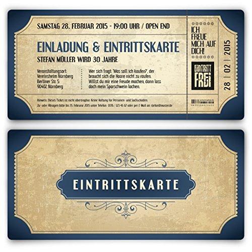 Einladungskarten zum Geburtstag (30 Stück) als Eintrittskarte im Vintage Ticket Look