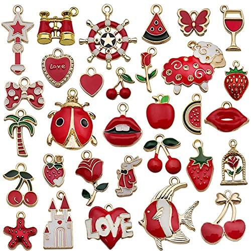 MMYAN Colgantes rojos de cereza DIY colgantes pendientes pendientes colgantes de metal a granel colgantes de esmalte colgantes para la fabricación de joyas accesorios