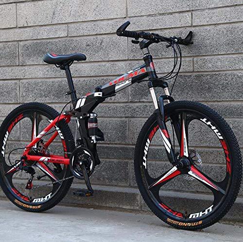 GASLIKE Bicicleta de montaña Plegable con Ruedas de 26 Pulgadas, suspensión Doble para Hombres y Mujeres, Marco de Acero de Alto Carbono, Freno de Disco de Acero,Negro,27 Speed