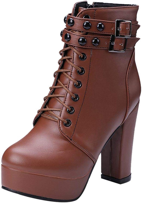 Unm Women Fashion High Heel Ankle Boots Zip