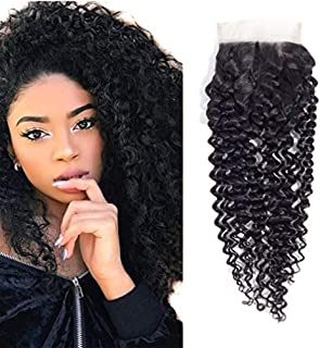 10A Brazilian Curly Closure Human Hair Virgin Kinky Curly Free Part Lace Closure Natural Color (14Inch)