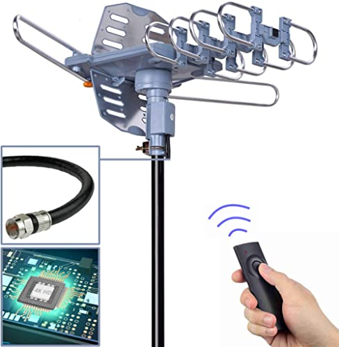 PBD Digital Outdoor TV Antenna, 150 Mile Motorized 360 Degree Rotation Support 2 TVs, Mounting Pole, 50FT RG6 Coax Cable, Wireless Remote Control, UHF/VHF, Snap-On Installation product image