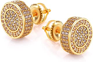 Gold Earrings For Men And Ladies With Screw Back Hip Hop Earrings Men Gold Plated With Cubic Zircon Round