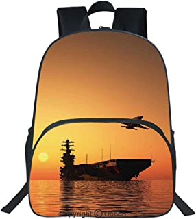 Oobon Kids Toddler School Waterproof 3D Cartoon Backpack, Military Aircraft Jet and Armed Ship the Sea at Sunset Horizon Dramatic Theme, Fits 14 Inch Laptop
