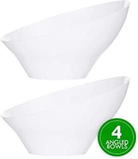 Plasticpro Disposable Angled Plastic Bowls Round Medium Serving Bowl, Elegant for Party's, Snack, or Salad Bowl, White, Pack of 4