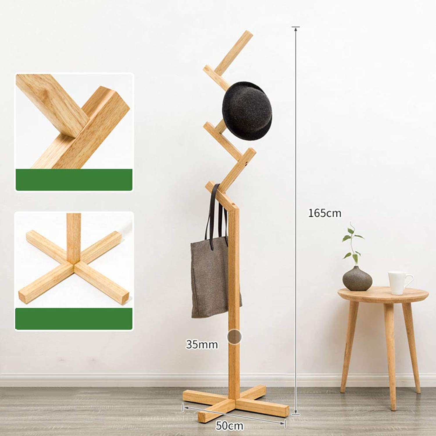 Rubber Wood Coat Tree,Coat Rack Free Standing,with 8 Hooks for Hats Scarves Clothes Handbags Easy Assembly-G 50x165cm(20x65inch)
