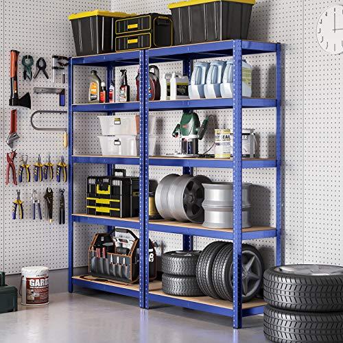 SONGMICS 2 x Lagerregal 180 x 90 x 45 cm Schwerlastregal max. mit 1325 kg belastbar Kellerregal mit pulverbeschichteter Oberfläche Steckregal GLR90Q
