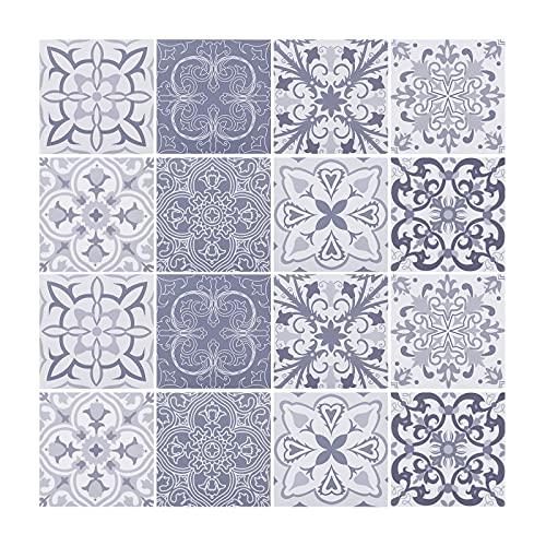 Juego de 16 adhesivos para azulejos, autoadhesivos, impermeables, estilo vintage, para decoración de cocina, baño, manualidades, 20 x 20 cm