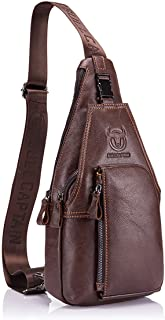Men Genuine Leather Chest Bag, Crossbody Shoulder Bag Sling Bags Backpack Messenger Bag Daypack For Business Casual Sport Hiking Travel Brown