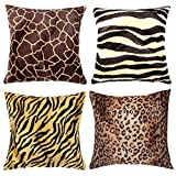 WOMHOPE 4 Pack - 18' x 18' Short Faux Fur Cushion Decorative Pillow Covers Animal Theme Print Style Square Throw Pillowcase Cushion Covers for Sofa,Bed,Chair,Auto Seat (F(Set of 4))